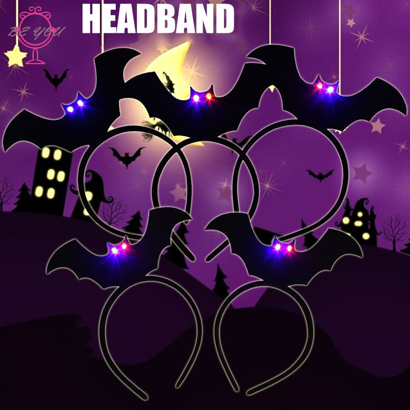 Halloween Black Hairband Glowing Headband Cosplay Masquerade Costume Party for Kids Adults