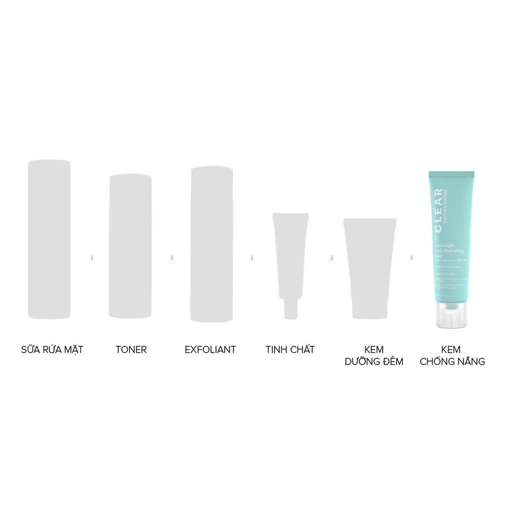 Kem chống nắng Paulas Choice dành cho da mụn 6130 - Paula's Choice Clear Ultra-Light Daily Hydrating Fluid SPF 30 60ml