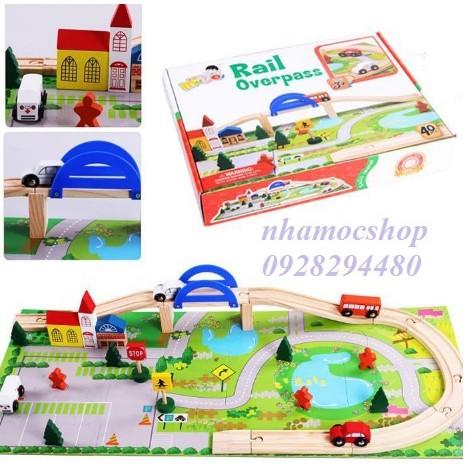 Đồ chơi gỗ mô hình đường ray giao thông 40pcs