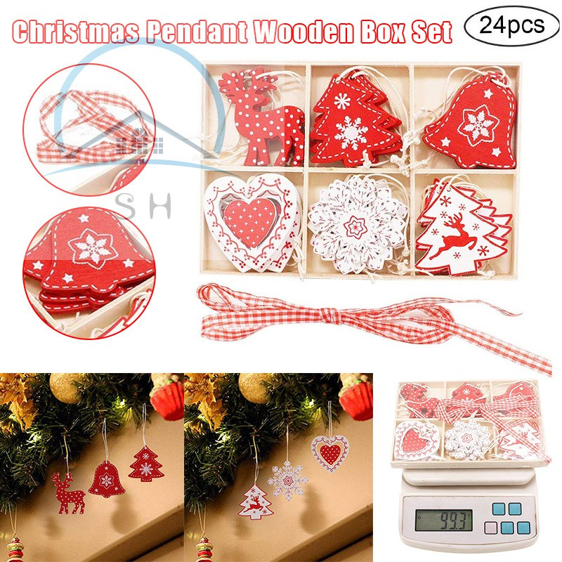 Christmas Wooden Pendant Set with Wooden Box Home Christmas Tree Decoration Crafts Props