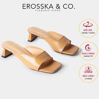 Dép cao gót Erosska mũi vuông da rắn kiểu dáng mới 2020 gót cao 5cm màu kem _ EM059