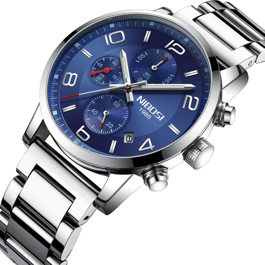 Đồng hồ nam NIBOSI 2328 dây thép đúc chạy 6 kim mặt kính lồi (TẶNG PIN+VÒNG)