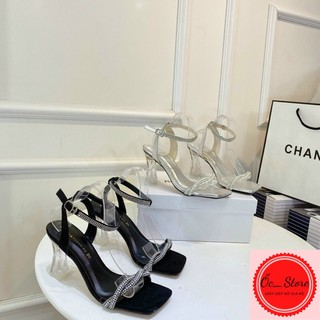 sandal quai đá ngọc, sandal hở gót, sandal quai đá, sandal gót vuông gót trụ 7cm
