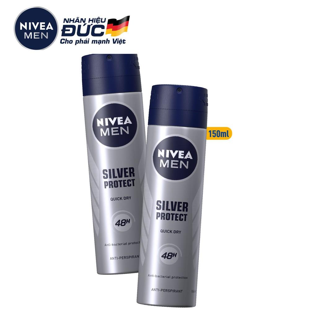 Bộ 2 chai xịt ngăn mùi NIVEA MEN Silver Protect phân tử bạc kháng khuẩn (150ml/chai) – 82959