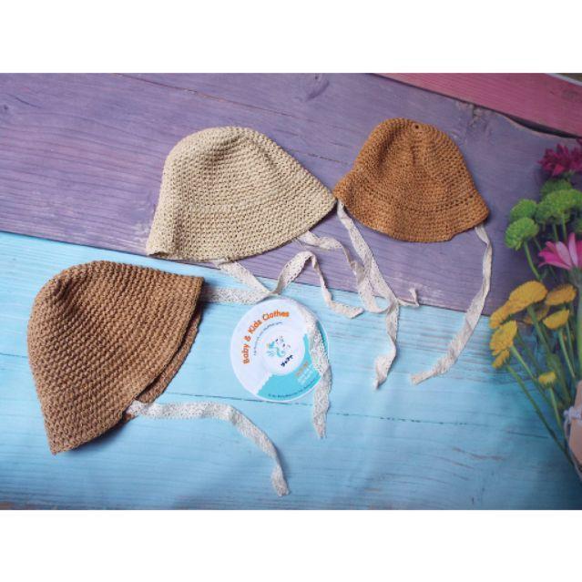 Mũ cói dây cột xinh yêu cho bé