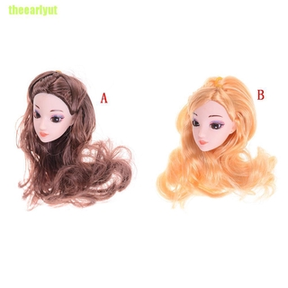 theearlyut 3D Eyes Head Nake Joints Body Doll Head Toys for Barbie Dolls Long Hair