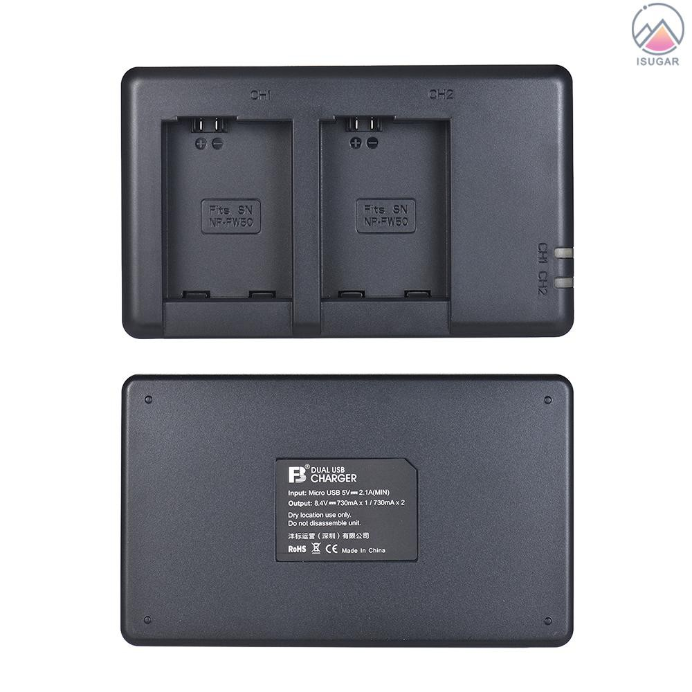 FB NP-FW50 Camera Battery Charger 2-Channel Micro-USB Input for Sony Alpha a6500 a6300 a6000 a7s a7 a7s ii a7s a5100 a50