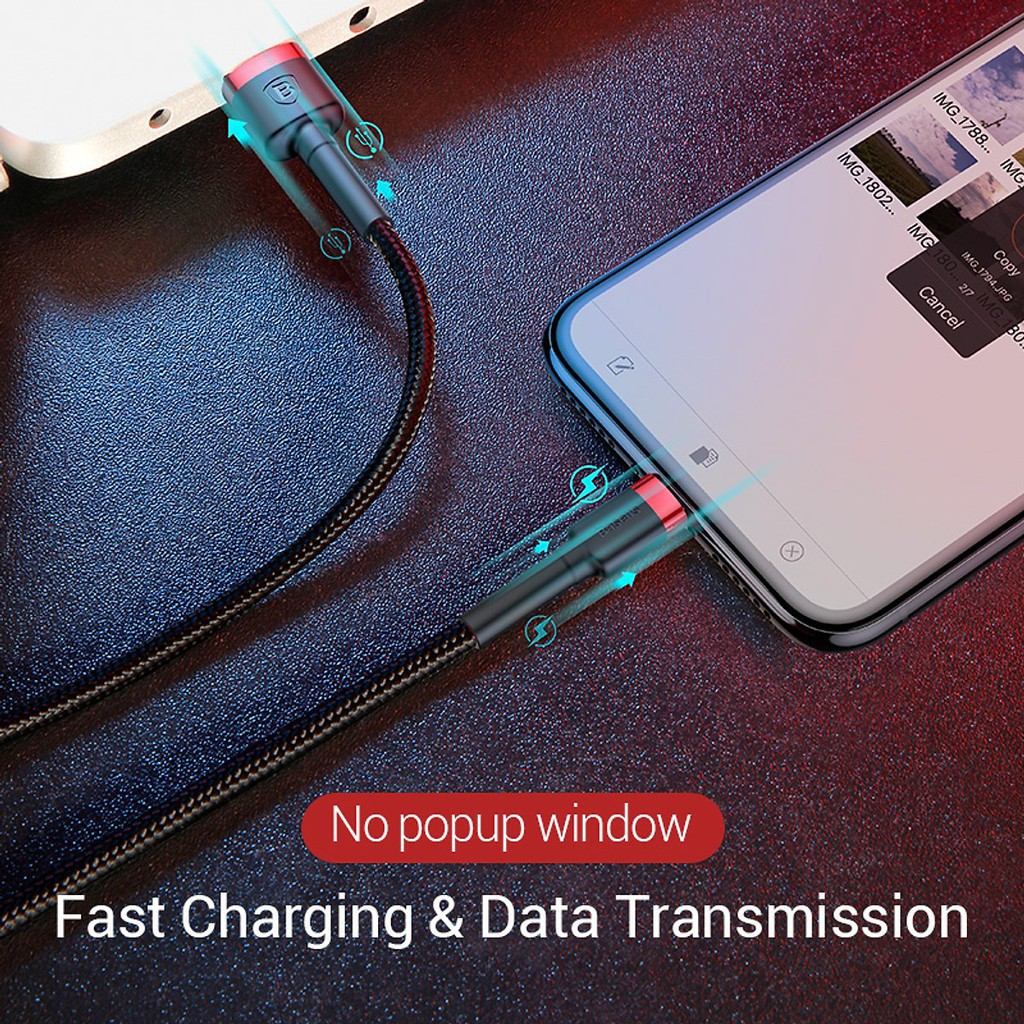 Cáp Sạc Nhanh iPhone Ipad Baseus Cafule Siêu Bền   Kèm Dây Velcro Giữ Cáp - Cáp sạc iPhone 5/6/7/8/X/XS/XS /11