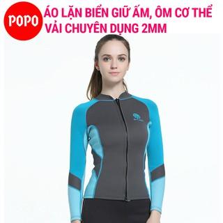 Áo lặn nữ dài tay dày 2mm POPO MY078 quần áo lặn giữ nhiệt cơ thể trong BST Bộ đồ lặn biển nữ thumbnail