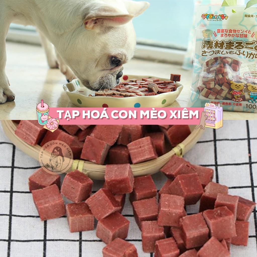 Bánh thưởng Bò lúc lắc hình khối cho thú cưng chó 100gr - Đồ ăn huấn luyện thú cưng không chất phụ gia