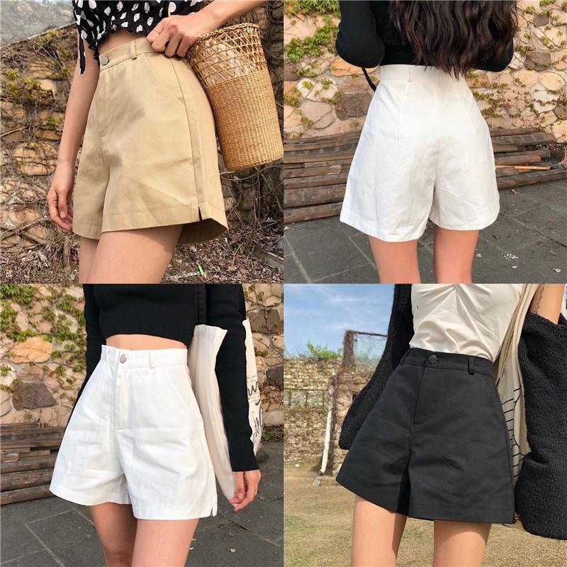 กางเกงหญิงฤดูร้อนปี 2019 กางเกงเอวสูงย้อนยุคป่ากางเกงขาสั้นสบาย ๆ หลวมแยกบางคำกางเกงขากว้าง