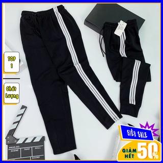 Quần thể thao 3 sọc nam nữ ống suông rộng baggy Umi cao cấp – Quần jogger nam nữ 3 sọc đen dây rút học sinh QD01