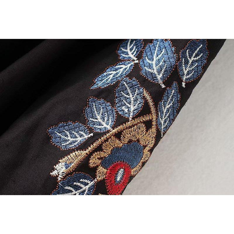 Fashion new large size female growth skirt skirt dress dress girl dress word collar tassel embroidered dress waist tie