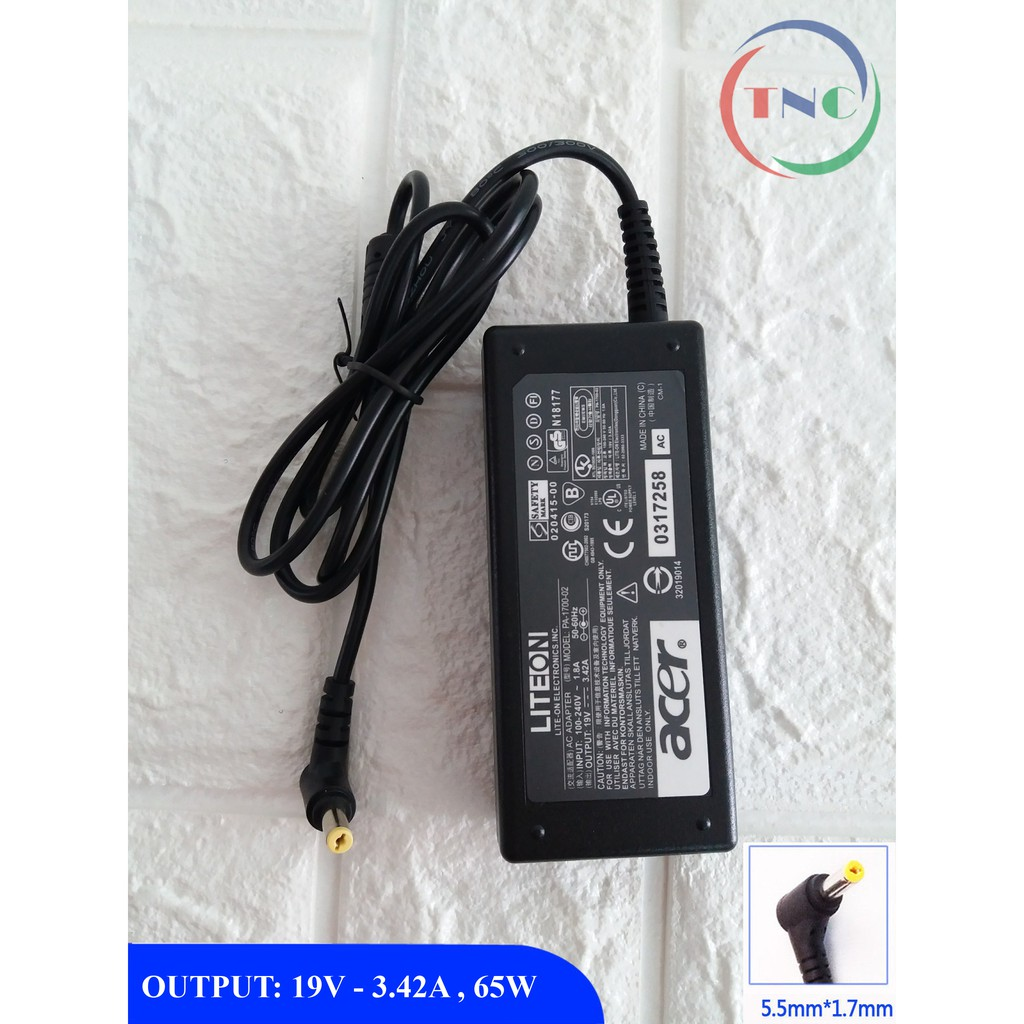 Sạc Laptop Acer 19V–3.42A – 65W (Adapter Acer 19V – 3.42A – 65W) Kèm dây nguồn