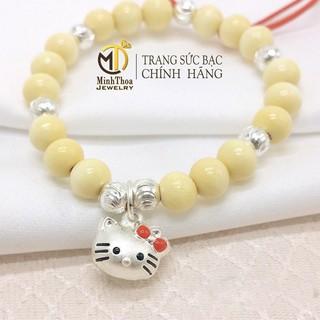 Vòng dâu tằm bi bạc cho bé, vòng dâu treo kitty cho trẻ sơ sinh, bé gái Minh Thoa JEWELRY thumbnail