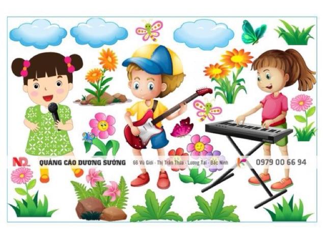 Tranh decal mầm non- góc âm nhạc- âm nhạc với trẻ thơ