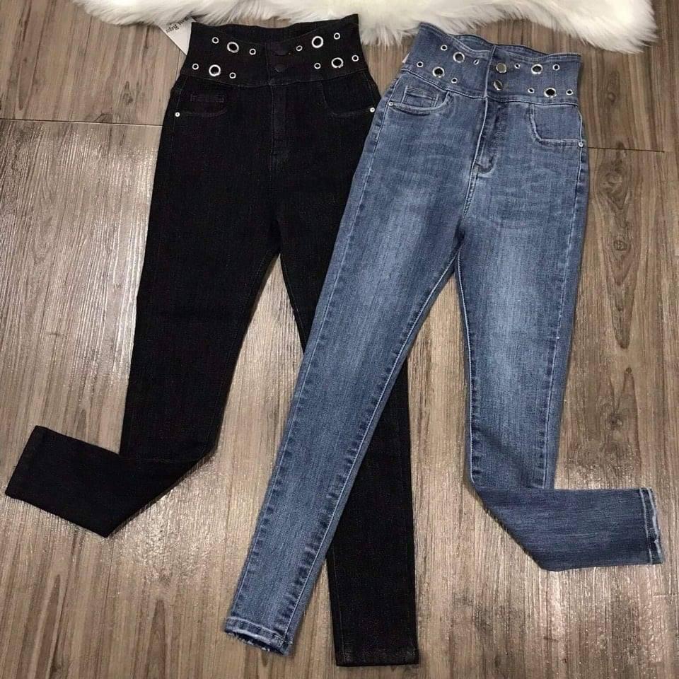 [Mã WASEPRN hoàn 20% xu đơn 99k] Quần jean nữ lưng siêu cao xỏ 6 khuyên thời trang z1