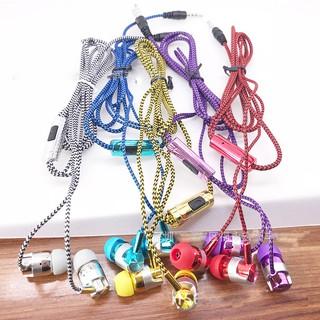 Tai nghe dây dù có MIC kết nối giắc cắm 3.5mm nhiều màu đa dạng lựa chọn nghe siêu êm siêu nhạy siêu thích