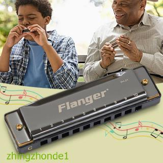 Flanger FH-01 Diatonic Blues Harmonica Standard 10 Hole 20 Tone with Case C Key for Beginner Professionals