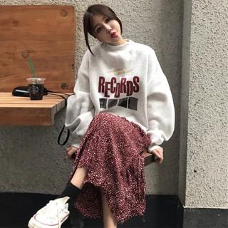 Net red two-piece autumn 2018 new women's plus velvet long-sleeved sweater + ski