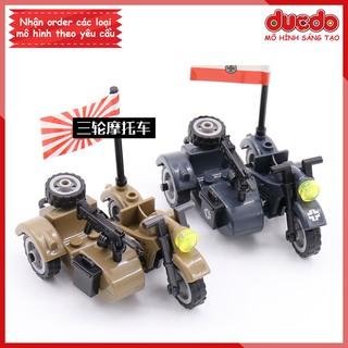 Moto 3 bánh trang bị vũ khí của phát xít Đức, Nhật – Đồ chơi Lắp ghép Xếp hình Mini Minifigures lính Army WW2 LEGO