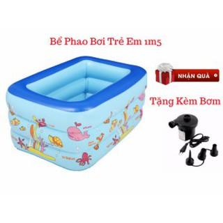 {FREE SHIP}Bể bơi 150 cm x 110 cm x 50 cm 3 tầng tặng kèm bơm bể