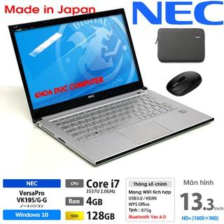 Laptop Nhật Bản NEC Versapro VK19 Core i7, 4gb Ram, SSD 128gb, 13.3inch HD vỏ nhôm siêu mỏng nhẹ 800gram thumbnail