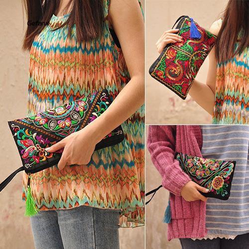 GEFX_Women's Retro Ethnic Embroider Purse Wallet Clutch Card Coin Holder Phone Bag