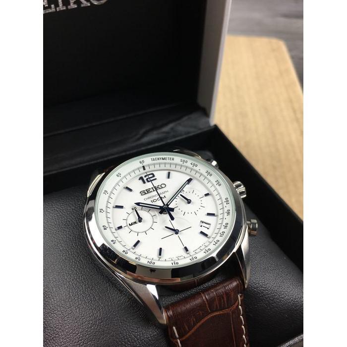 Đồng hồ Nam Seiko Chronograph SSB095P1 dây da, mặt kính Hardlex Crystal (Kính Cứng)
