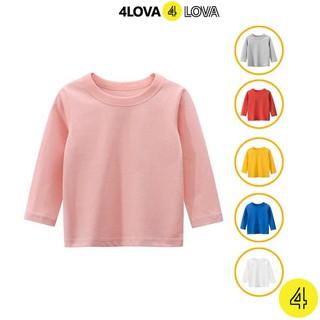 Áo thun dài tay cổ tròn trơn 4LOVA cho bé gái dễ thương