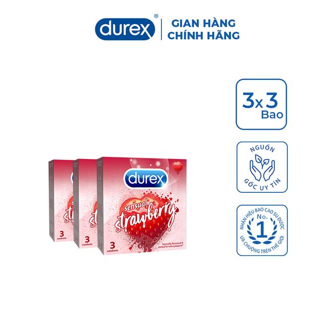 Bộ 3 Bao cao su Durex Sensual Strawberry (3 bao/hộp)