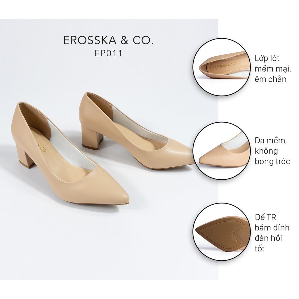 Giày cao gót Erosska thời trang mũi nhọn kiểu dáng cơ bản cao 5cm màu kem _ EP011
