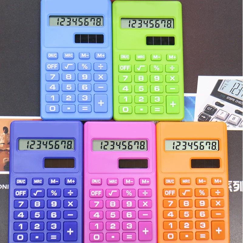 ♑LIB♑ Mini Calculator 8 Digits Display Dual Power Supply Cute Candy Calculadora Solar [OL]