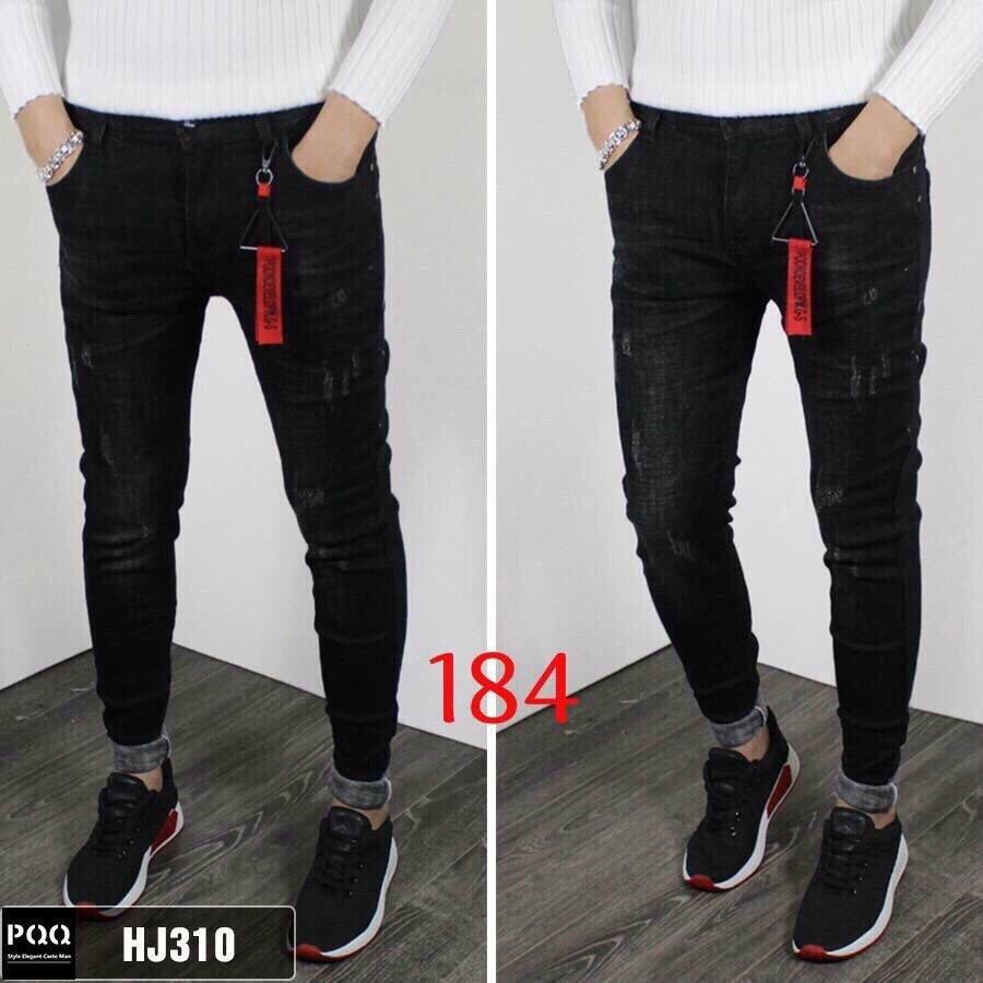 Quần jean nam đen xước 184