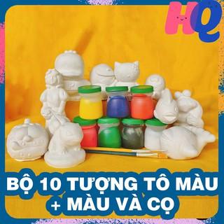 Bộ 10 tượng thạch cao tô tượng cho bé tặng 7 màu và 2 cọ