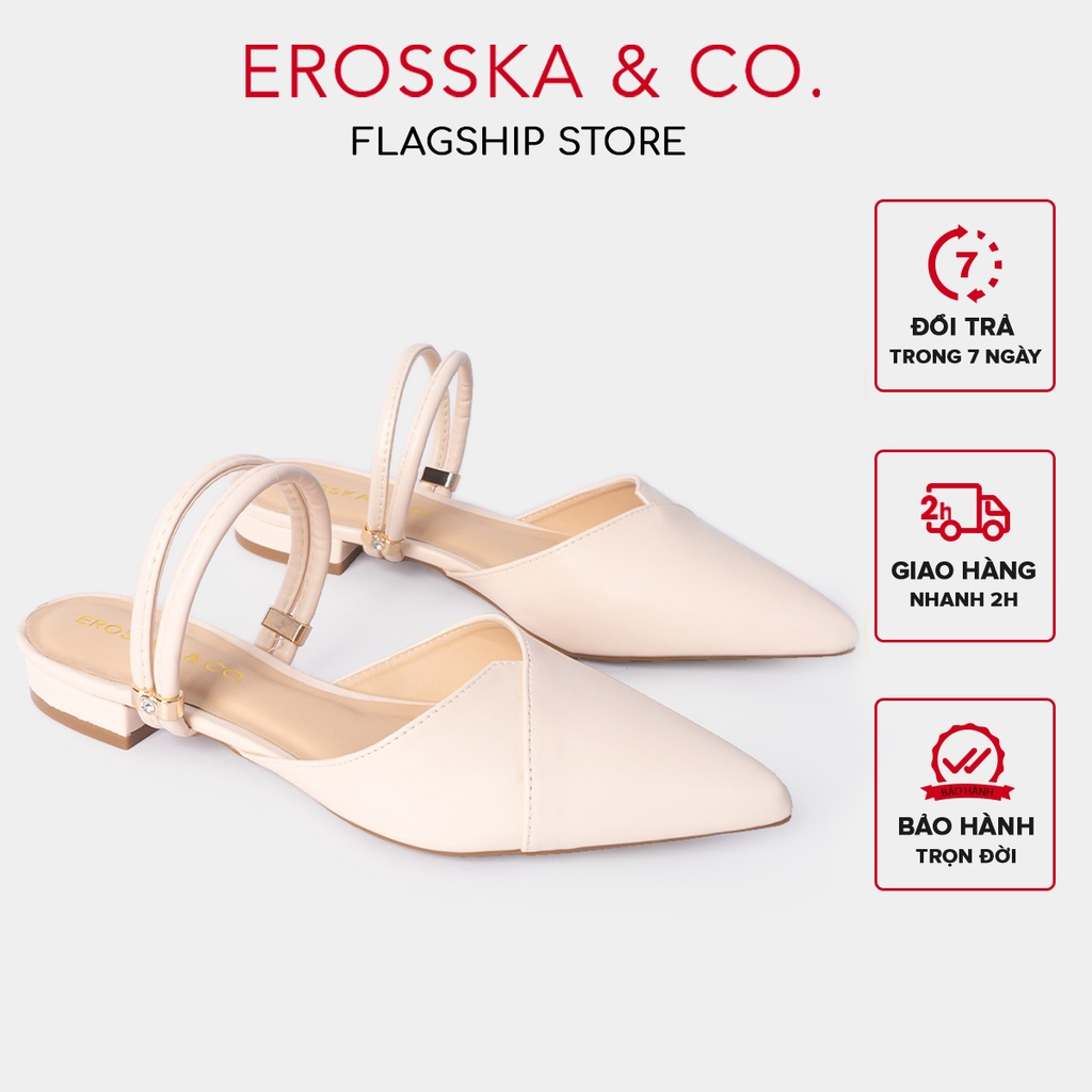 [Mã WABR151 giảm 10% đơn 99000] Giày cao gót Erosska thời trang mũi nhọn hở gót cao 2cm màu nude _ EL004