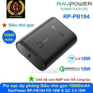 Pin sạc dự phòng Siêu Nhỏ RAVPower RP-PB194 10000mAh PD 3.0 18W & QC 3.0 18W