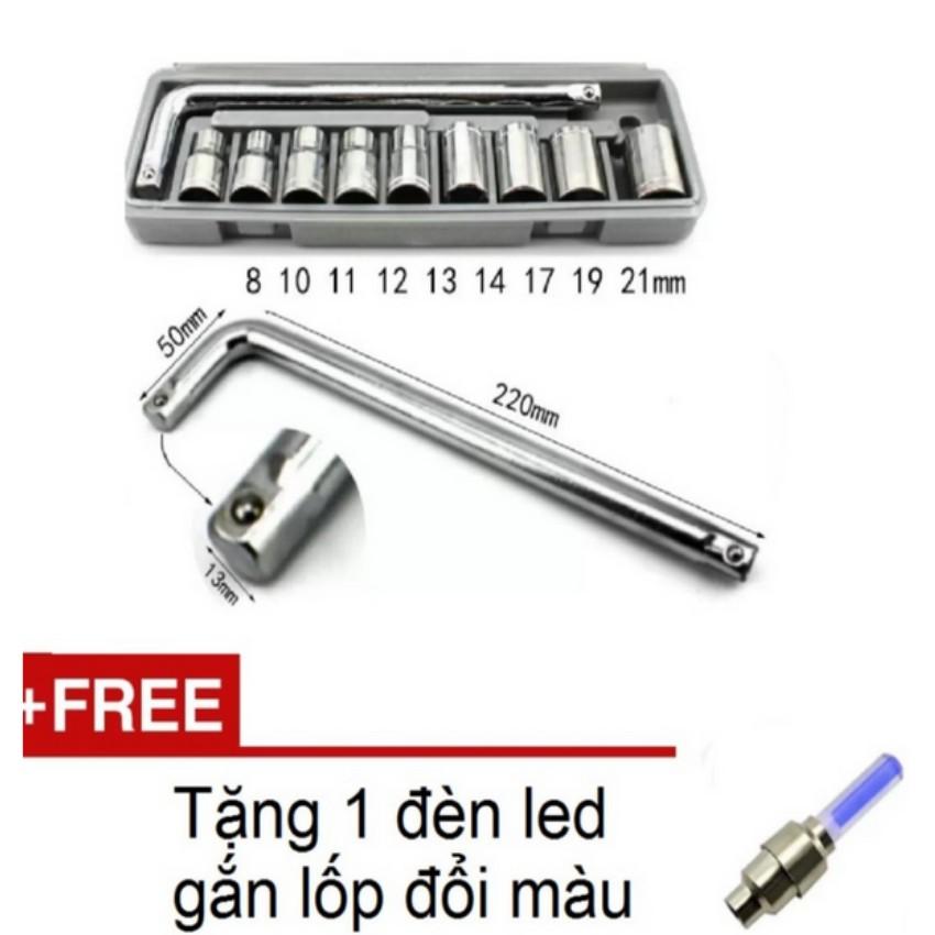 Bộ dụng cụ sửa chữa ô tô và xe máy TL 6080 (ghi) tặng 01 đèn led gắn van xe
