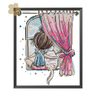 MIAON DIY Cat Little Girl Part Embroidery Stamped Canvas 14CT Cross Stitch Kits