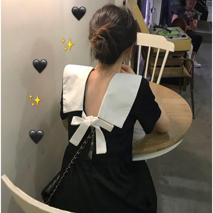 Váy trơn cổ thuỷ thủ thắt nơ lưng