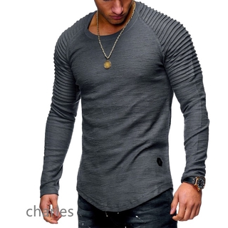 Good Men Slim Fit O Neck Long Sleeve Muscle Shirt Casual Solid Color Tops Blouse