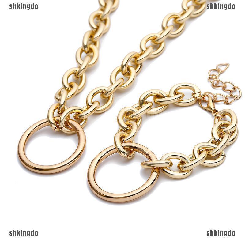 Vòng cổ choker mạ vàng bạc dạng dây xích phong cách Punk phá cách
