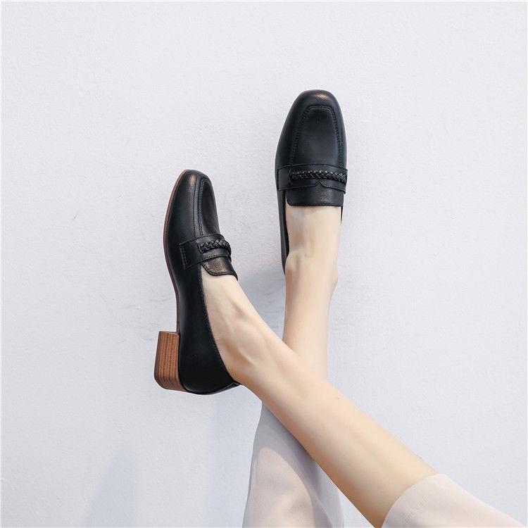 Giày Gót Vuông Mũi Vuông Thời Trang Cho Nữ