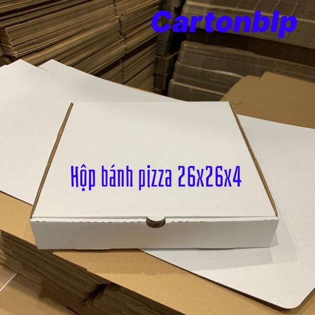 Hộp đựng bánh pizza size 26x26x4cm màu TRẮNG