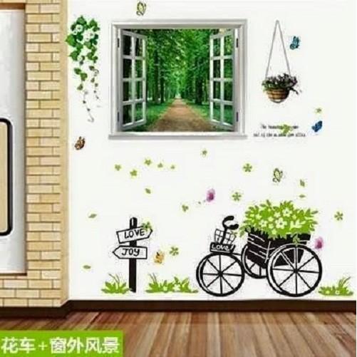 Decal dán tường cửa sổ rừng kết hợp xe đẩy - 2545425 , 129056027 , 322_129056027 , 60000 , Decal-dan-tuong-cua-so-rung-ket-hop-xe-day-322_129056027 , shopee.vn , Decal dán tường cửa sổ rừng kết hợp xe đẩy