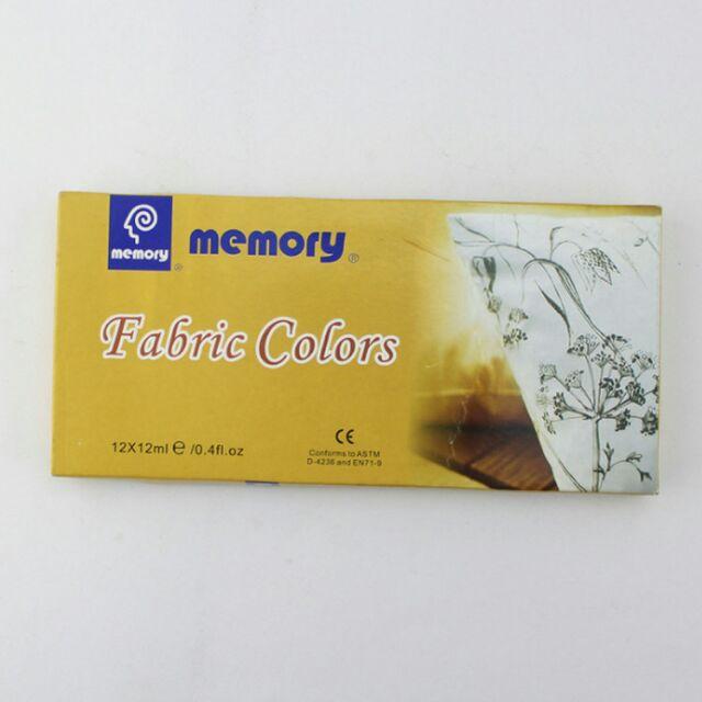 Bộ 12 màu vẽ vải 12ml của Memory