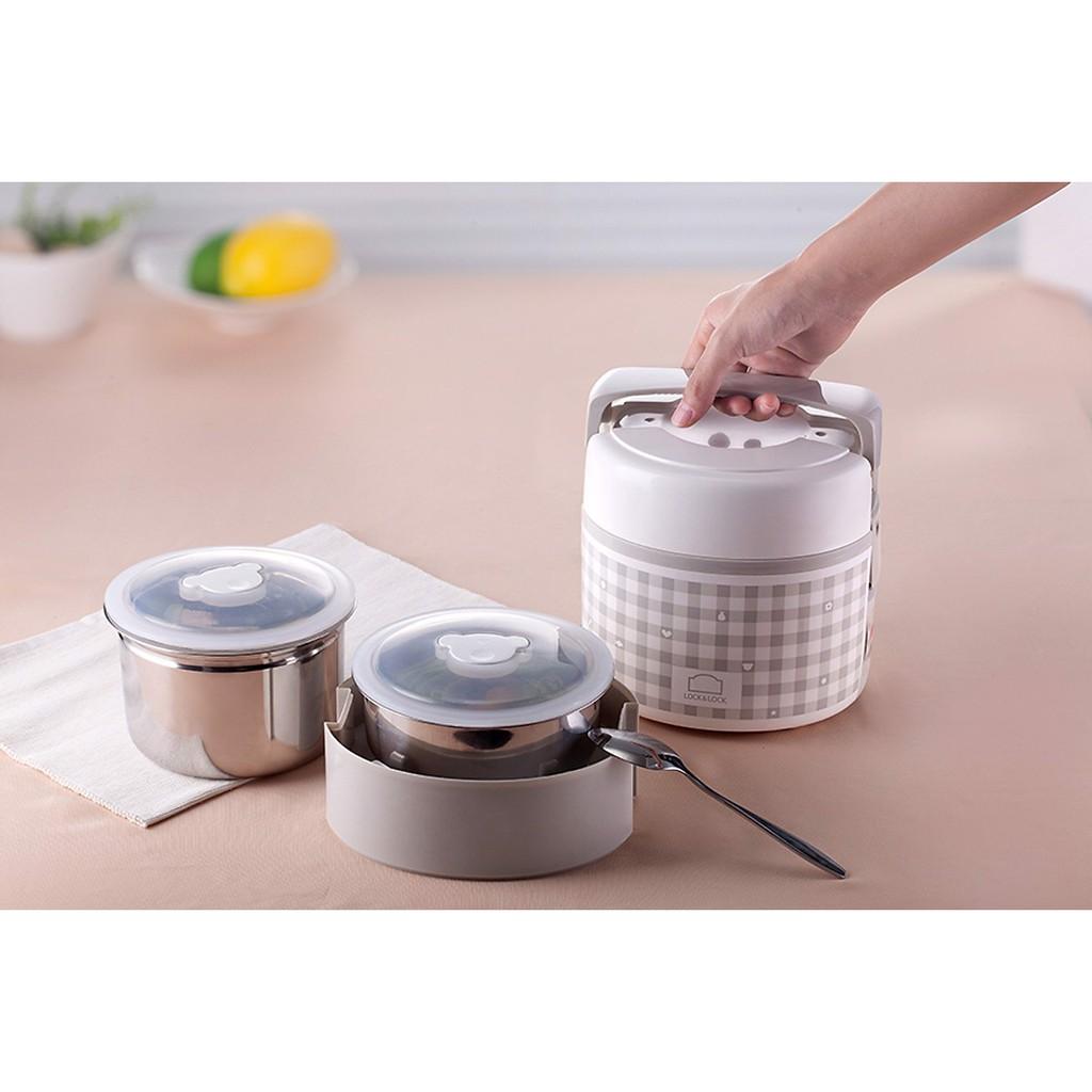 Hộp cơm điện có thể nấu & hâm nóng thức ăn Lock&Lock EJR216 - Dung tích 2L- ruột bằng Inox304 an toàn toàn