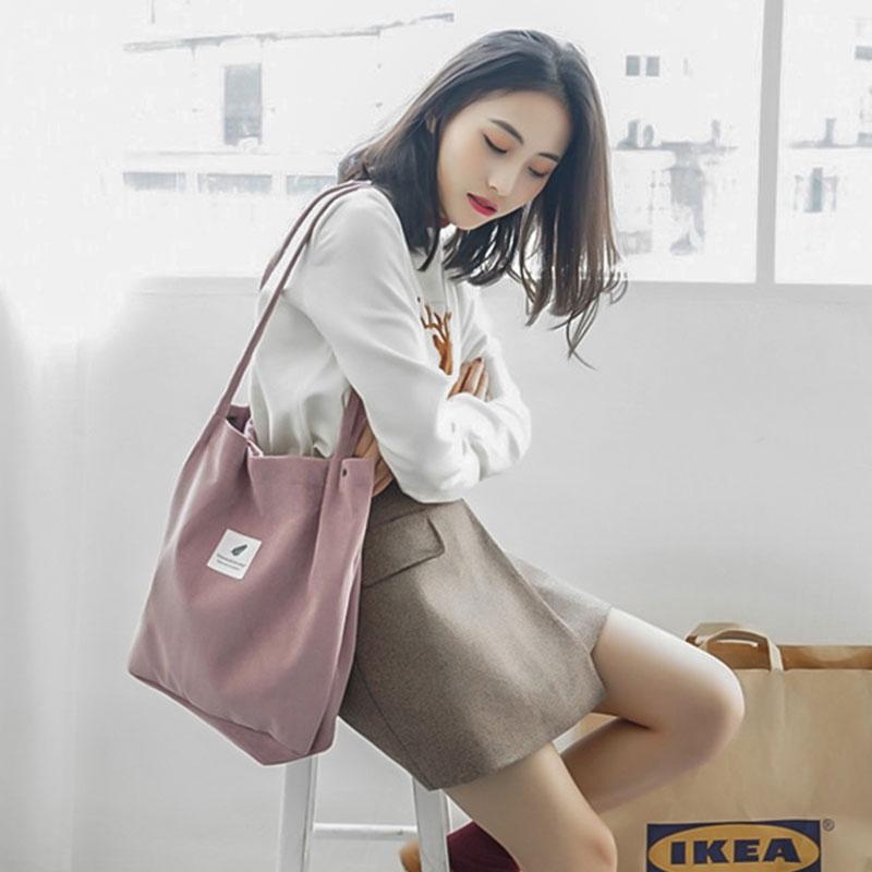 Cute Canvas Bag Girls Shopping Bags High capacity