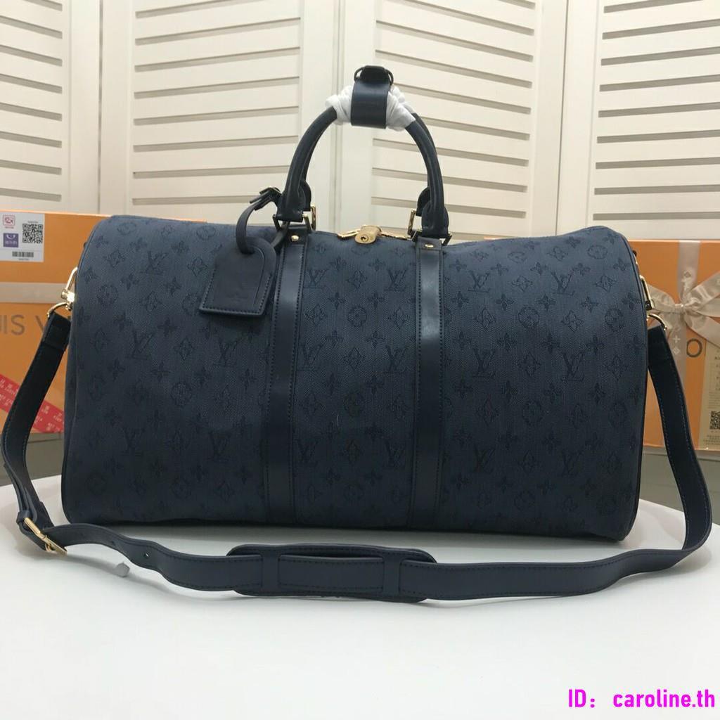 Lv / Louis Vuitton Keepall 50 น้ำเงินกระเป๋าผ้ายีนส์สีน้ำเงิน M44645 จัดส่งฟรี
