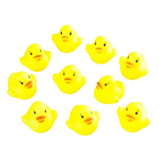 10pcs Baby Bathing Bath Tub Toys Mini Rubber Squeaky Float Duck Yellow